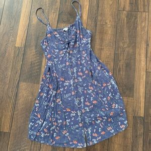 American Eagle blue floral button down dress